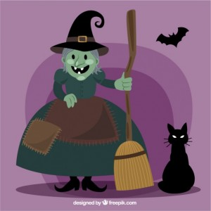 witch-cartoon-with-cat-and-bat_23-2147518912